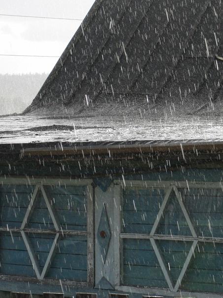 Поэт Николай Колычев на даче. Дождь